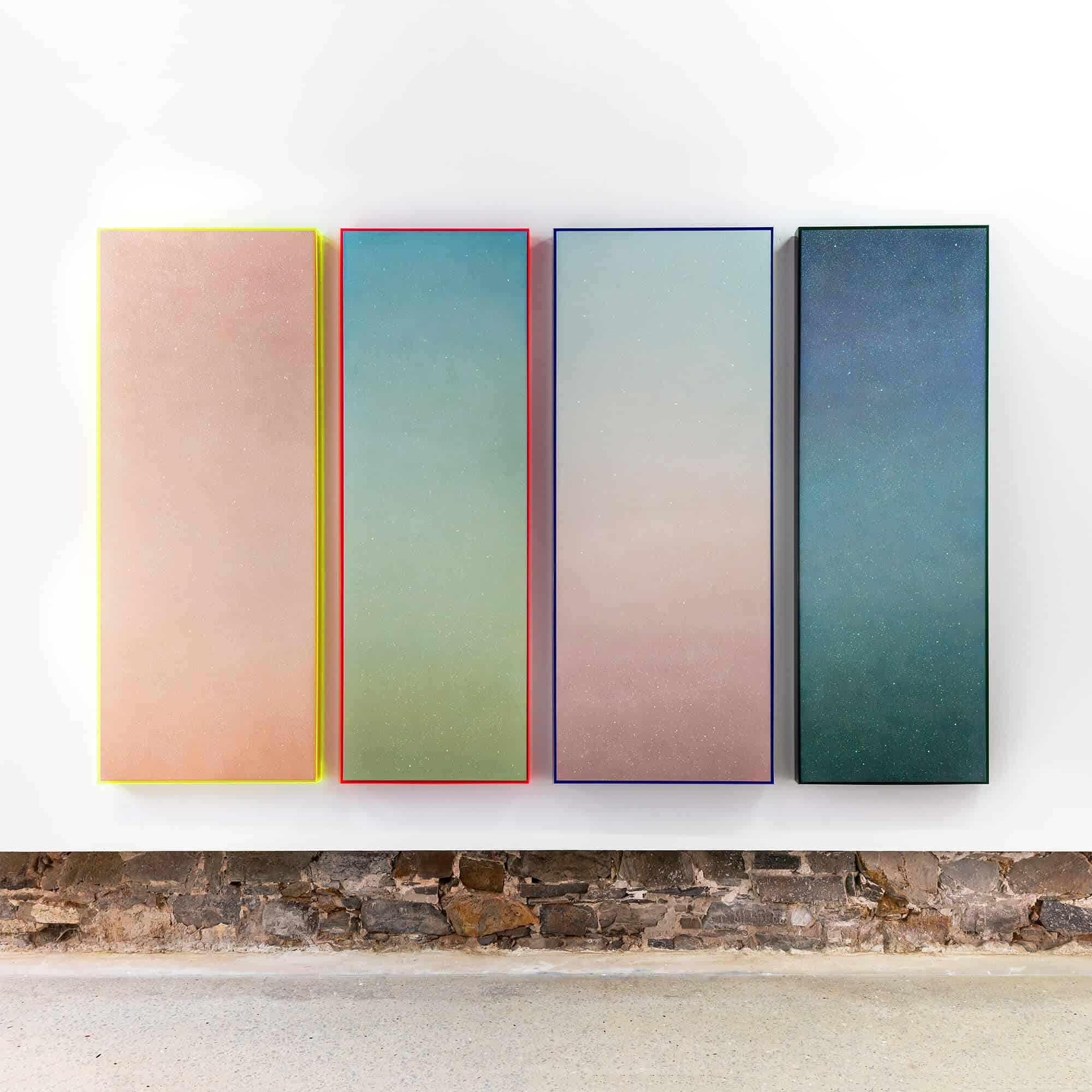LEFT TO RIGHT: You know the feeling. You know the feeling?, II 2. You know the feeling. You know the feeling?, I 3. If you fall apart then I'm falling behind you 4. If you disappear then I'm disappearing too, 2020. Automotive paint and glitter glue on canvas, 182 x 62cm.